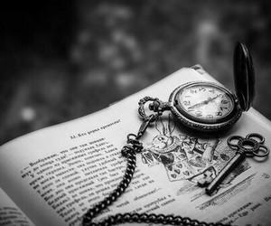 book, alice in wonderland, and clock image
