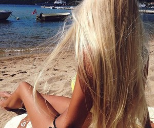 beach, long hair, and summer image