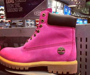 pink, timberland, and shoes image