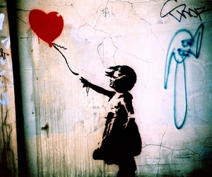 BANKSY, art, and red image