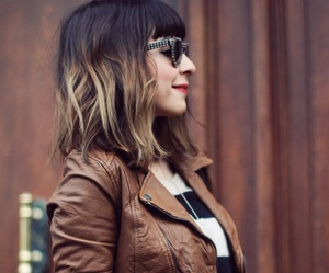hairstyle, jacket, and jeans image