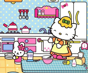 hello kitty, kitchen, and sanrio image