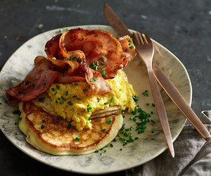 bacon, breakfast, and corn image