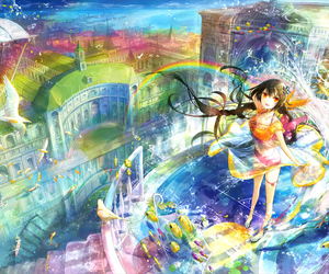 anime and rainbow image