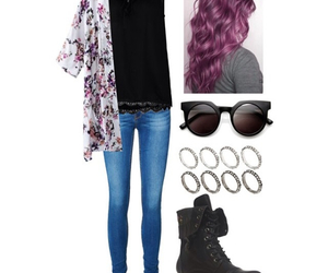 black tee, casual, and combat boots image