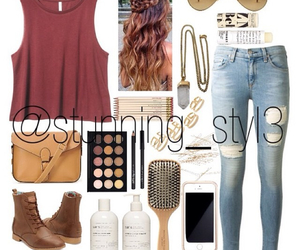boots, casual, and hair style image