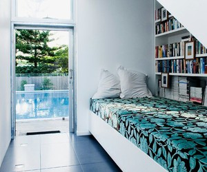 bed, blue, and bedroom image