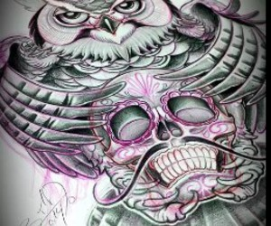 mexicano, tatto, and buho image