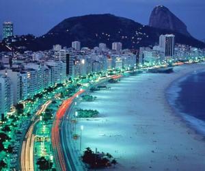 beach, city, and night image