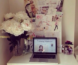flowers, room, and laptop image