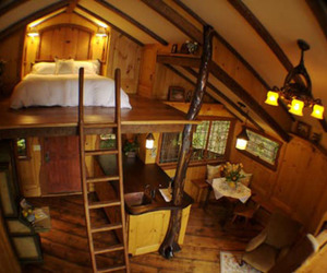 bedroom, cabin, and country image