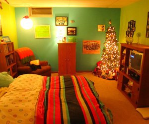bed, christmas tree, and bedroom image