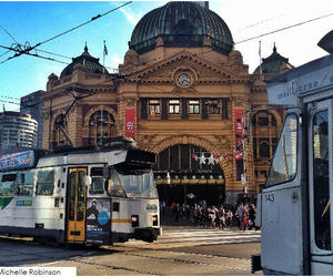 melbourne, trams, and flinders street station image
