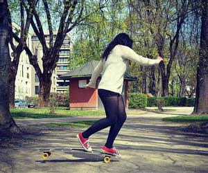 girl, longboard, and trick image