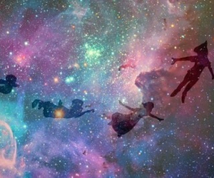 peter pan, fly, and galaxy image