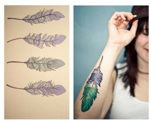 feather, feather tattoo, and green image