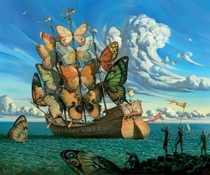 butterfly, art, and ship image