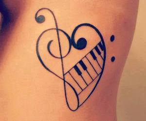 music, tattoo, and piano image