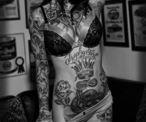 tattoo, sexy, and black and white image