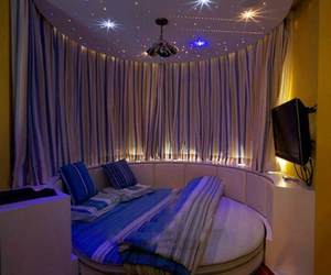 bedroom, room, and stars image