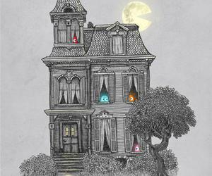 pacman, house, and art image