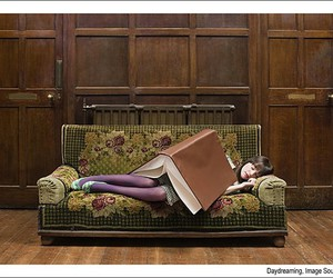 book, girl, and sleep image