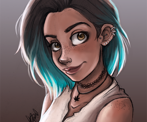 art, draw, and blue hair image