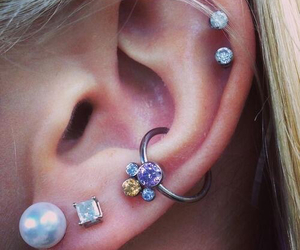 piercing, beautiful, and ear image