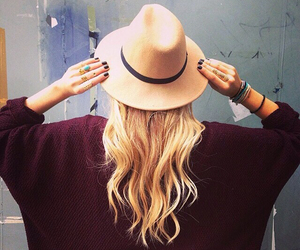 hat, blonde, and casual image