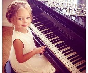 girl, beautiful, and piano image