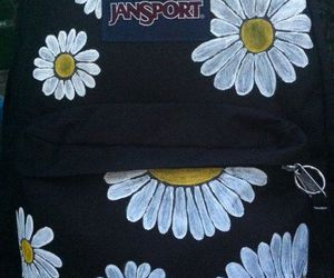 backpack, flowers, and jansport image