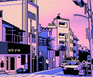 pixel, japan, and city image