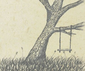 tree, drawing, and swing image