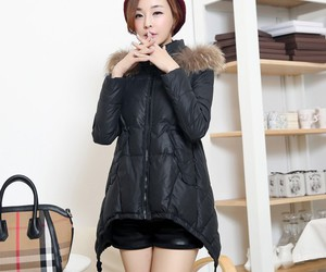 fur collar, yrbfashion, and cotton padded down coat image
