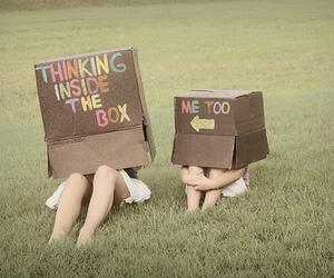 box, thinking, and funny image