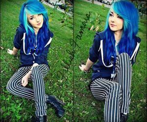 blue hair, scene, and alt girl image