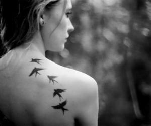bird, tattoo, and girl image