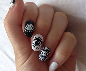 black and white, nails, and hand image