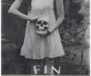 black and white, skull, and fin image