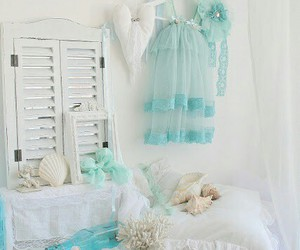 bedroom, white and blue, and decor image