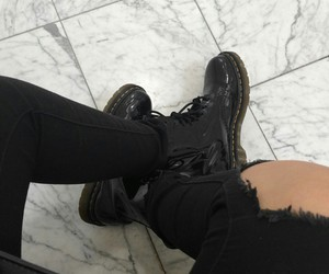 boots, dark, and outfit image