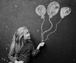 girl, cute, and balloons image