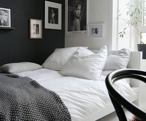 bedroom, home, and black and white image