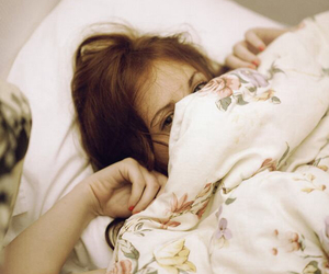 bed, girl, and hiding image