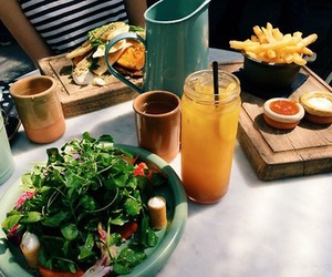 food, fries, and juice image