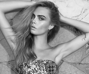 model, black and white, and cara delevingne image