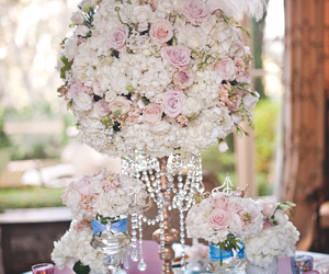 flower arrangement, pink, and wedding image