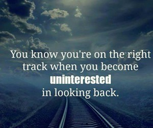 looking back, uninterested, and right track image