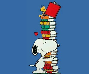book, snoopy, and reading image