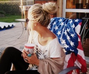 blond, cup, and coffee image